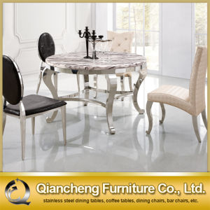 Most Popular Round Marble Stainless Steel Dining Tables pictures & photos