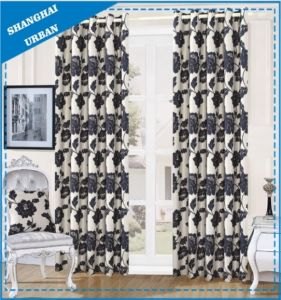 Home Decoration Black Floral Polyester Window Curtain pictures & photos