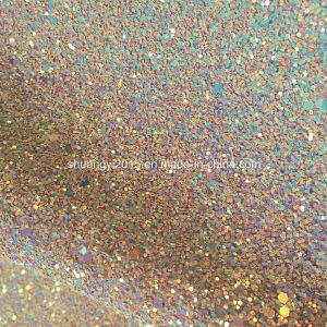 Fashion Discolor Glitter Leather for Ladies Shoes pictures & photos