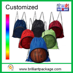 Drawstring Sports Backpack Mesh Bag Polyester Drawstring Bag pictures & photos