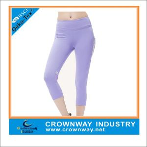 Women′s Fitness Polyester Spandex Yoga Pants with Logo pictures & photos