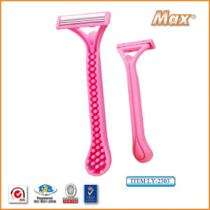Twin Stainless Steel Blade Disposable Razor Fro Woman (LY-2303) pictures & photos