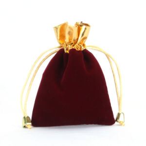 Drawstring Velvet Gift Pouch with Trim (CVB-1065) pictures & photos