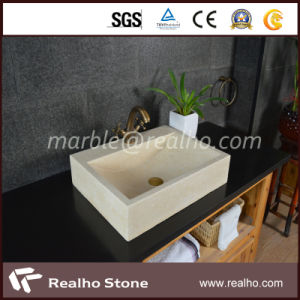 Natural Beige Marble Stone Rectangle Solid Sink for Bathroom pictures & photos