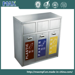 Stainless Steel Three Compartments Recycling Waste Bin pictures & photos