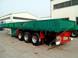 3axles Side Panel Flat Bed Semi Trailer with Container Locks pictures & photos