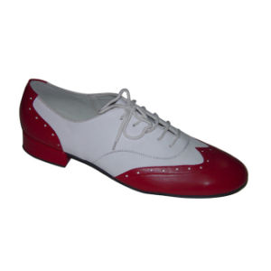 Red&White Leather Men′s Standard Dance Shoes pictures & photos