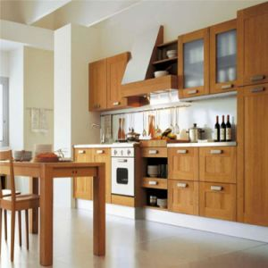 American Style Beige Customized Solid Wood Kitchen Cabinet Design pictures & photos