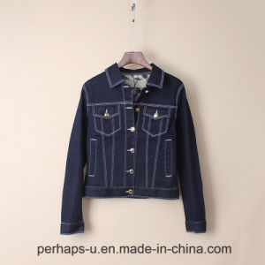 High-End Women Military Style Stretch Cotton Denim Jacket pictures & photos
