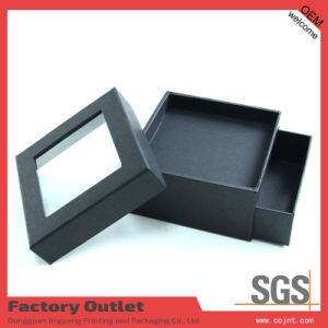 Black Perfume Packaging Box with PVC Window and Drawer