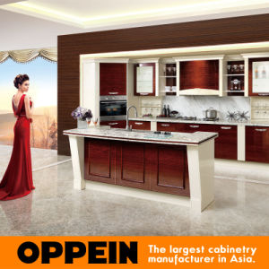 Oppein Modern High Glossy Wood Veneer MDF Kitchen Furniture (OP15-057) pictures & photos