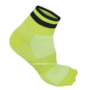 Yellow Breathable Women Cycling Socks pictures & photos