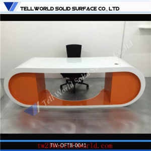 Modern Luxury Italian Style Gold Special Double Side High End Marble Office Desk with Drawers Locking pictures & photos