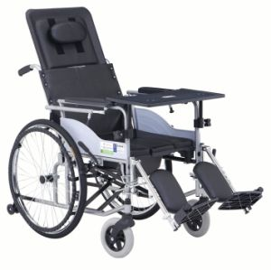 Half Reclined with Commode Steel Wheelchair