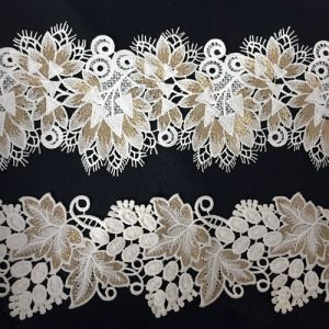 Beautiful Gold Organza Lace with Embroidery pictures & photos