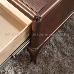 Wood Coffee Table with Metal Leg with Solid Wood Drawer pictures & photos