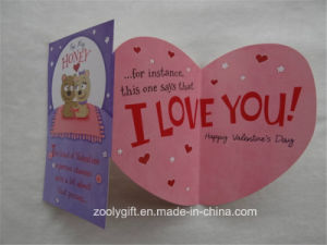 Tri-Fold Greeting Card for Valentine′s Day with Die-Cut Heart Shape pictures & photos