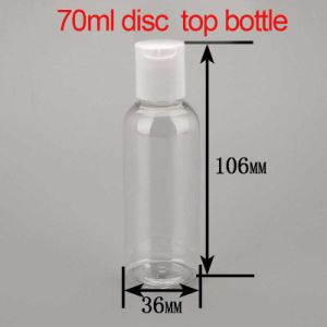 70ml Transparent Plastic Cosmetic Packaging Disc Top Press Cap Bottle pictures & photos
