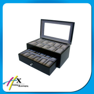 Suede Lining 12-Slot Wooden Watch Storage Display Box with Drawer pictures & photos