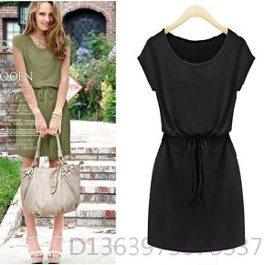 European Short Sleeve Elegant Long Middle Waisted Dress