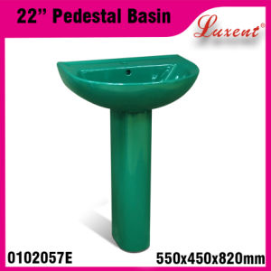 Pottery Colourfull Coffee Shop Solid Surface Hand Wash Pedestal Basin