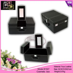 Black PU Leather Mirror Simple Design Cosmetic Cabinet Showcase (1507) pictures & photos