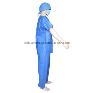 Soft SMS V-Collar Blue Scrub Suit Short Sleeve with 3 Pockets pictures & photos