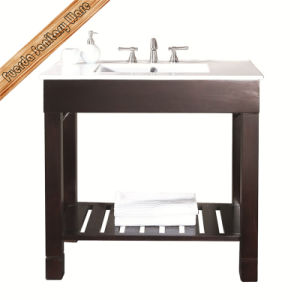 Fed-1064 Integrated Single Cupc Ceramic Sink Hotel Style Open Shelf Bathroom Cabinets pictures & photos