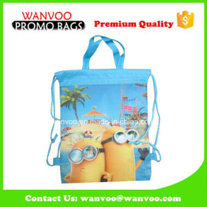 Customized Carton Children Shool Drawstring Non-Woven Backpack with Handle pictures & photos