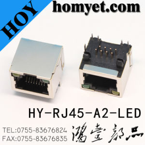 Manufacturer RJ45 Female Connector/RJ45 PCB Jack with LED (HY-RJ45-A2-LED) pictures & photos