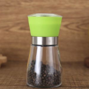 Colorful White Pepper Glass Jar Black Pepper Jar and Salt Grinder pictures & photos