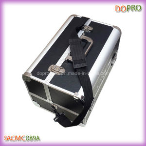 Black PU Leather Cosmetic Travel Train Case (SACMC089A)