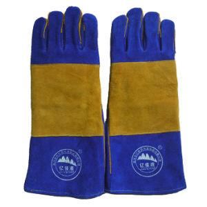 Blue Cow Leather Welding Gloves Industry Protective Working Safety Gloves pictures & photos