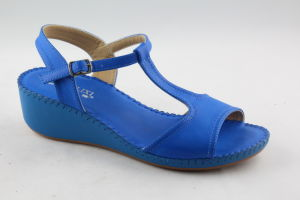 Popular Open Toe Lady Sandals with T-Strap Design pictures & photos