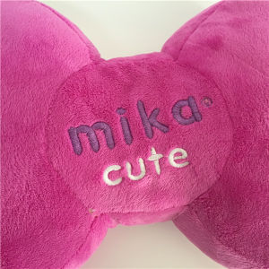 Dog Bone Shape Mika Cute Pink Frog Pattern Embroidered Pillow pictures & photos