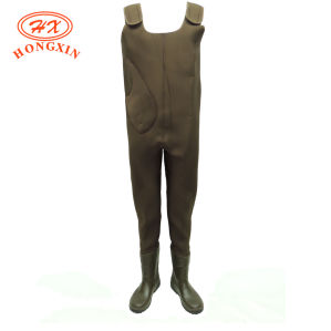 Green Waterproof Neoprene Fishing Wader with Boots (HX-FW0020) pictures & photos