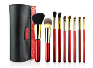 New Luxury 9 PCS The Sexy Red Lady Style Cosmetic Brush Portable Makeup Brush