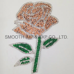 Fashion Red Rose Embroidery Rhinestone Iron on Patch Flower Badge pictures & photos