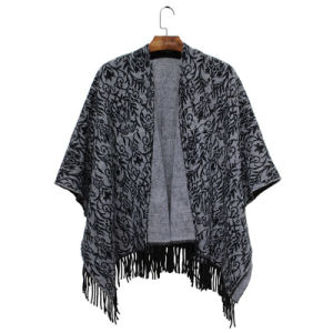 Women Fashion Acrylic Woven Paisley Jacquard Winter Fringe Shawl (YKY4506) pictures & photos
