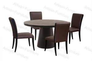 Lacquer Round Dining Table with Leather Chairs (JP-T-012)