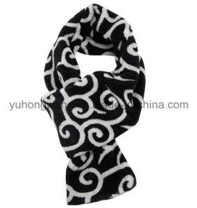 Customized Winter Warm Knitting Printed Polar Fleece Scarf