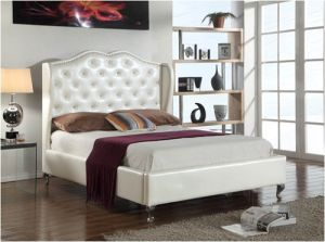 Modern Bedroom Furniture PU Leather Hotel White Bed pictures & photos
