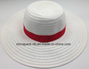 White Paper Straw Big Brim Hats for Women (CPA_90055) pictures & photos