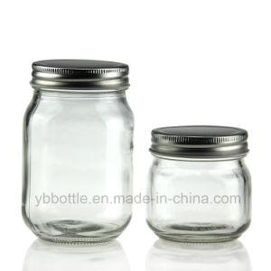 16oz (500ml) Eco Mason Square Round Glass Fruit Jam Jars (two pieces caps)