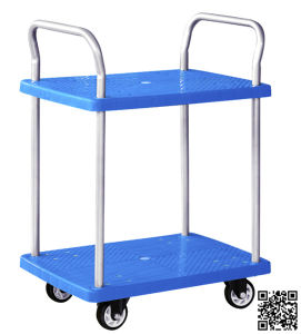 300kg Double Layers Plastic Hand Trolley Without Mesh pictures & photos