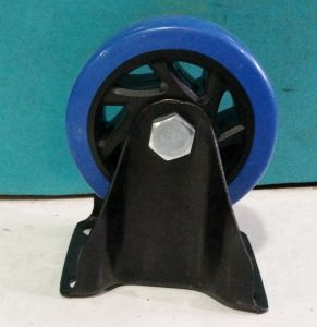 4′′ Blue PU Fixed Castor Wheel Use for Hand Trolley pictures & photos