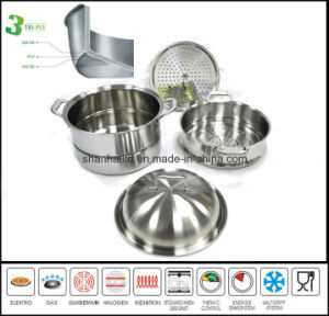 3ply Body 4PCS Stockpot Steamer Set pictures & photos