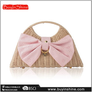 Nice Bow Natural Rattan Bag