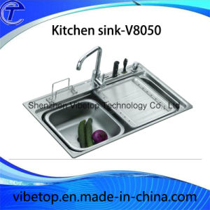 Export Southeast Asia Stainless Steel Kitchen Sink with Drainboard pictures & photos