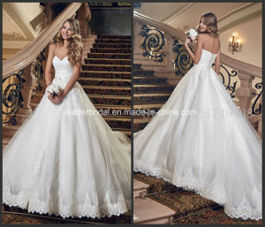 Sweetheart Lace Bridal Ball Gowns Puffy Tulle Custom Made Wedding Dress G1789 pictures & photos